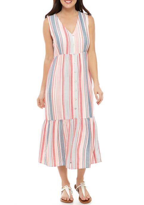 Petite Button Tiered Maxi Dress