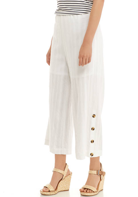 New Directions® Petite Button Hem Cropped Pants
