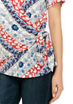 Womens Short Sleeve Wrap Front Top