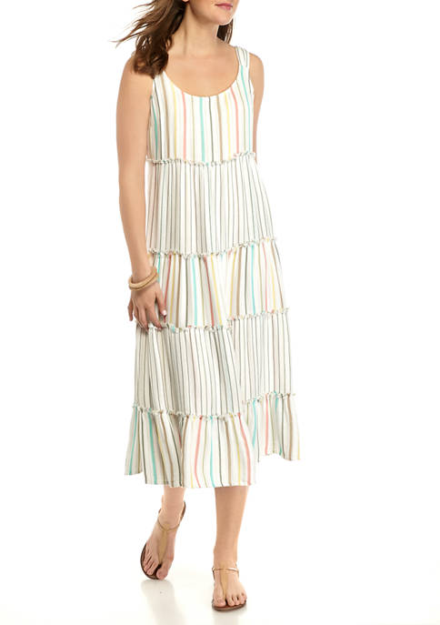 New Directions® Petite Double Face Tiered Maxi Dress