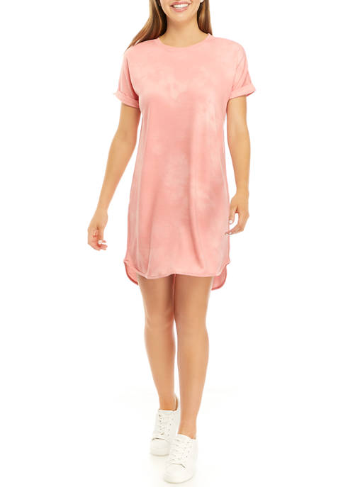 New Directions® Petite Short Sleeve Babydoll Terry Dress