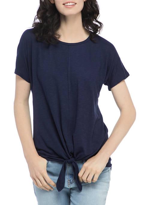 Petite Tie Front Dolman Sleeve Shirt