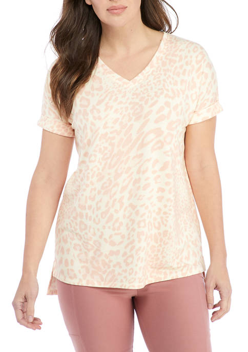 New Directions® Studio Petite Baby Terry V-Neck T-Shirt