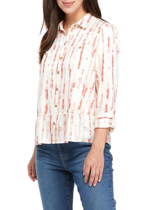 New Directions® Petite Peplum Boyfriend Shirt