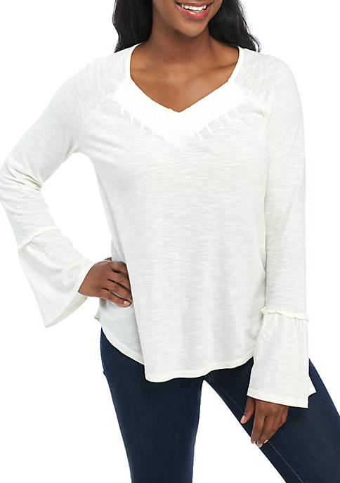 New Directions® Pleat V-Neck Knit Top