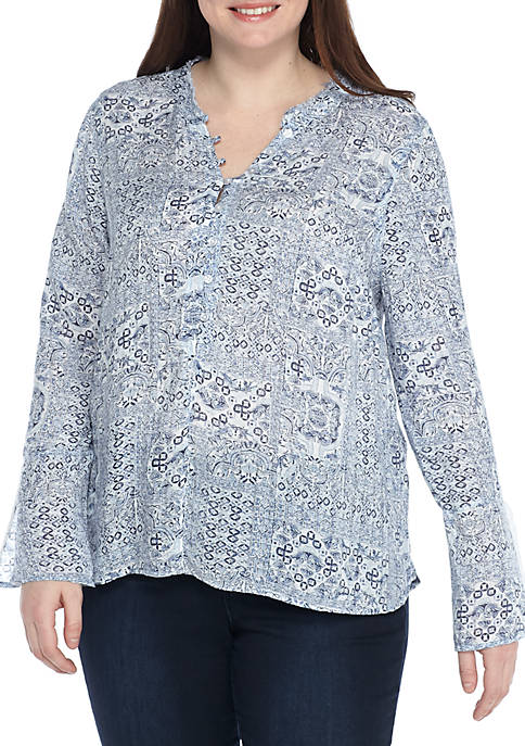 New Directions® Petite Printed Bell-Sleeve Top