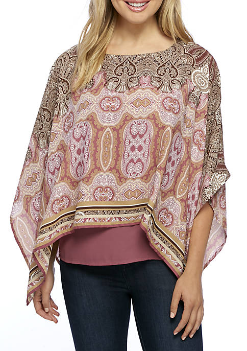 New Directions® Printed Double Layer Kimono Top