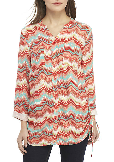 New Directions® Petite 3/4 Sleeve Cinch Side Print