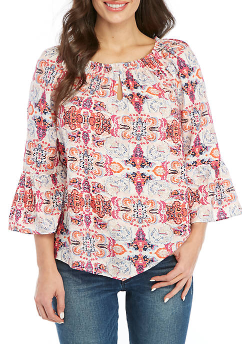 New Directions® Petite Keyhole Neck Peasant Top