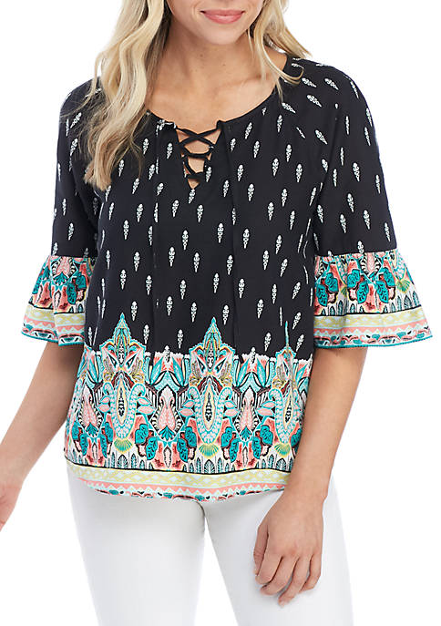 Petite Elbow Bell Sleeves Lace Up Shirt