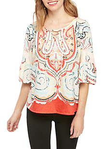 Petite 3/4 Ruffle Sleeve Lace Up Top