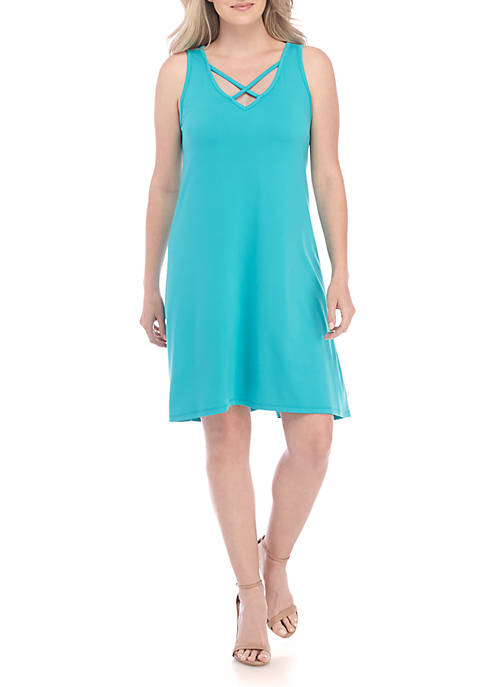 New Directions® Crisscross Neck Dress