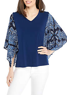 Petite Size Printed Knit Top