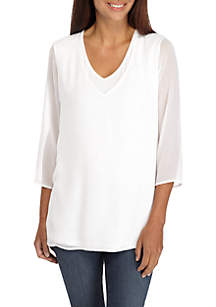Petite Double Layer Knit Woven Tee