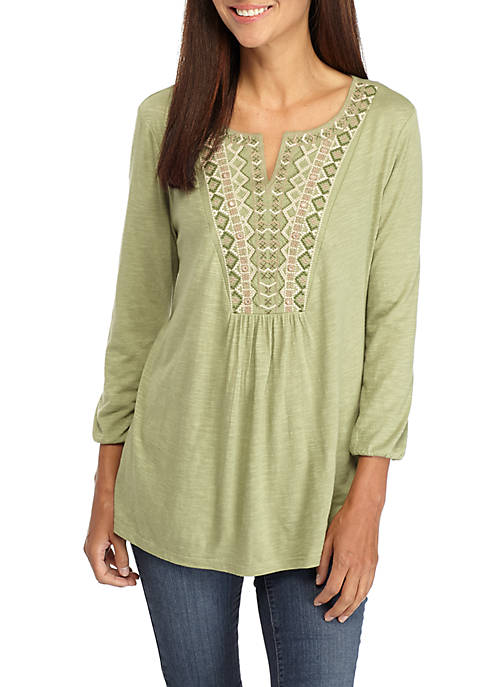 New Directions® Petite Embroidered Notch Neck Peasant Top
