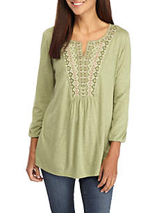 Petite Embroidered Notch Neck Peasant Top