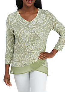 Petite Size Double Layer Knit Henley Top