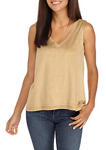 Petite Suede Front Tank