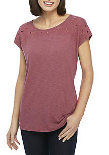 Petite Embroidered Cap Sleeve Tee