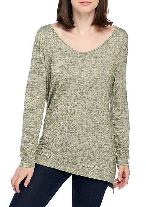 New Directions® Petite Long Sleeve V-Neck Ribbed Hem