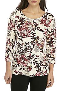 Petite 3/4 Sleeve Floral Top