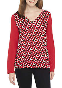 Petite Zip Front Knit and Woven Top