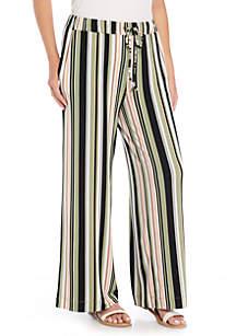 Petite Size Tie-Waisted Wide Leg Pants