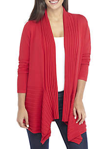 Petite Long Sleeve Ribbed Solid Cardigan