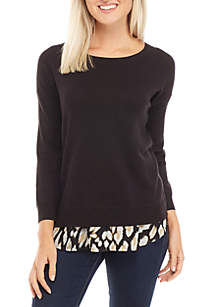 Petite Long Sleeve 2Fer Heather to Print Top