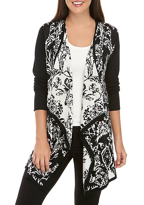 New Directions® Petite Long Sleeve Jacquard Cardigan