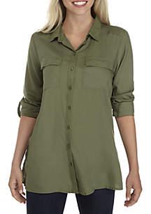 Petite Button Front Camp Shirt