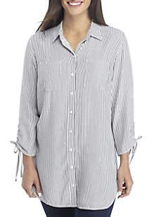 Petite Printed Cinch Sleeve Top