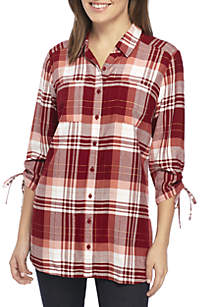 Petite Cinched Sleeve Button-Down Shirt