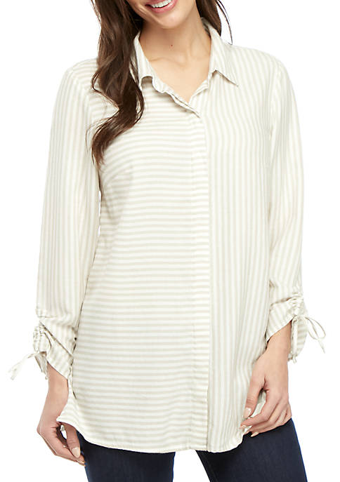 Petite Cinched Sleeve Button Down Top