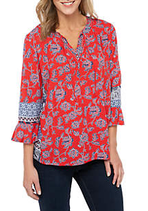 New Directions® Petite 3/4 Split Neck Printed Top