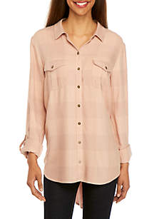 New Directions® Petite Button Front Shirt