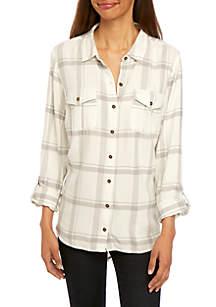 New Directions® Petite Boyfriend Shirt