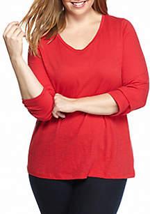 Plus Size Slub-Core Solid Knit Top