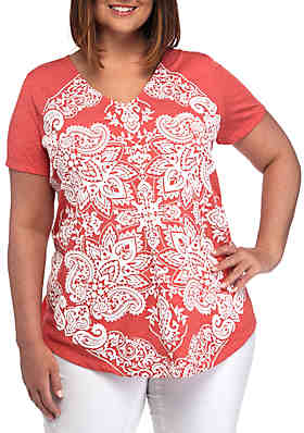 fe6d1a651ca95c New Directions® Plus Size Short Sleeve Graphic T Shirt ...