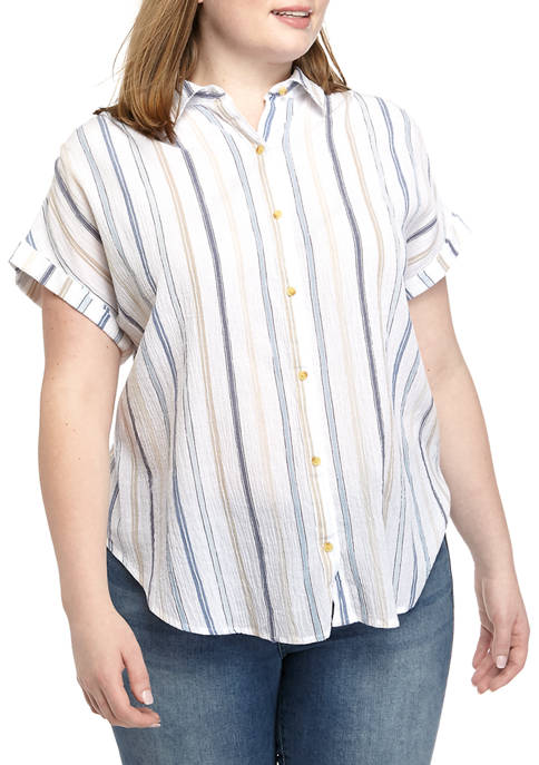 Plus Size Yarn Dye The Weekend Shirt