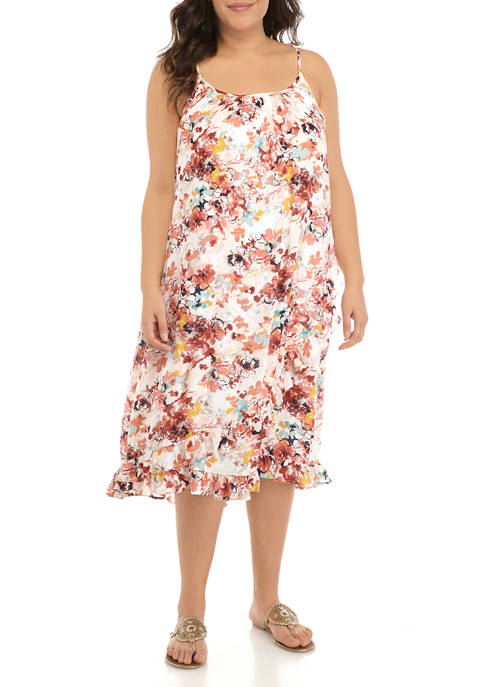 New Directions® Plus Size Printed Ruffle Cami Dress