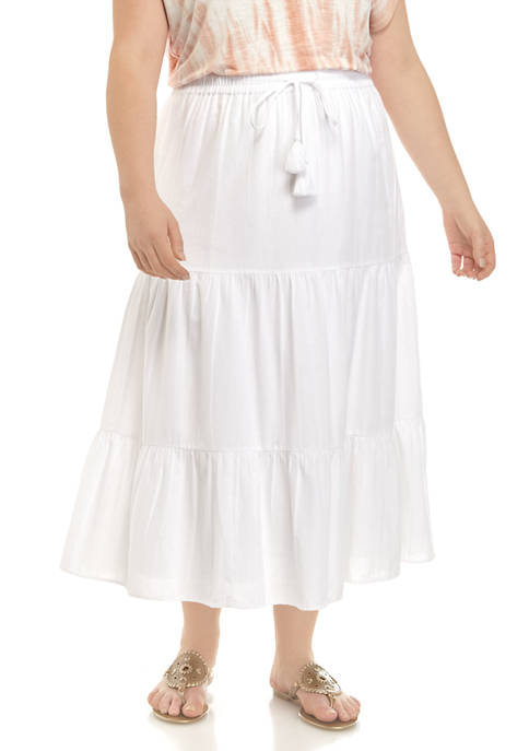Plus Size Tiered Midi Skirt