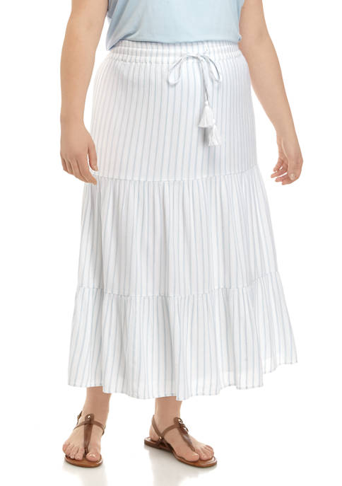 New Directions® Plus Size Tiered Midi Skirt