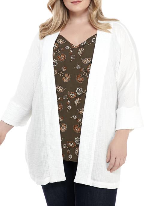 New Directions® Plus Size Gauze Kimono