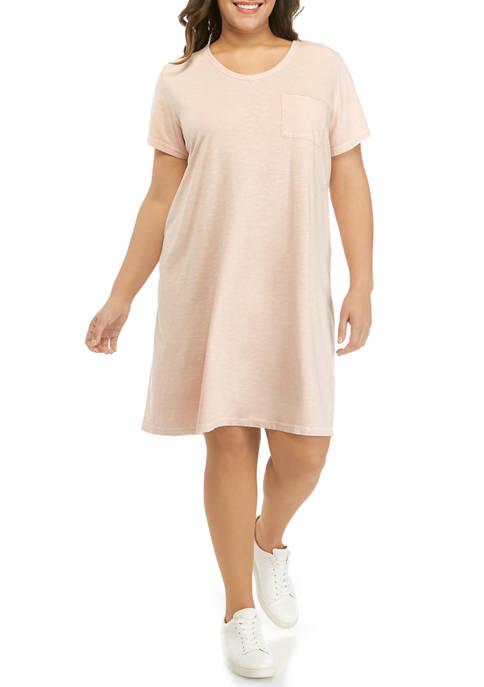 Plus Size Short Sleeve V Neck T-Shirt Dress