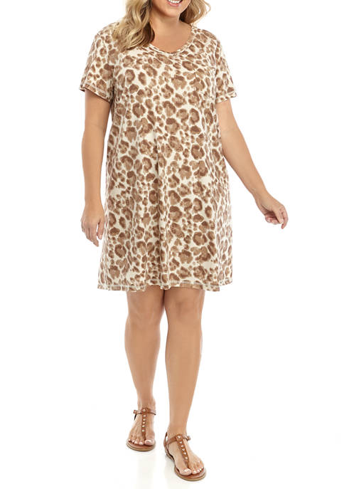 Plus Size Short Sleeve V Neck Printed T-Shirt Dress