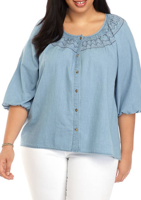 Plus Size Embroidered Smock Neck Peasant Top