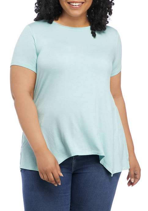 New Directions® Plus Size Short Sleeve Shark Bite