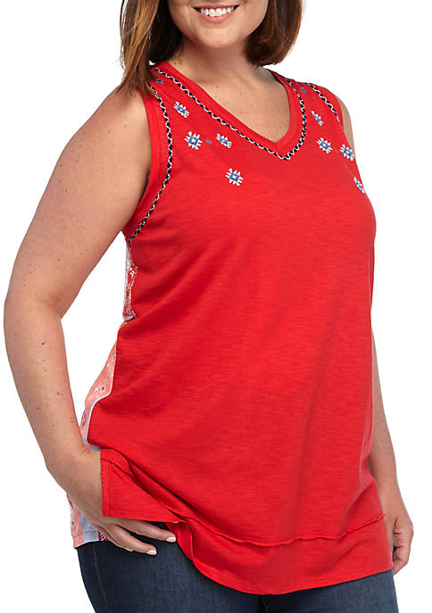 New Directions® Plus Size Mixed Media V Neck