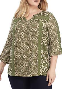 New Directions® Plus Size Crochet Trim Peasant Top
